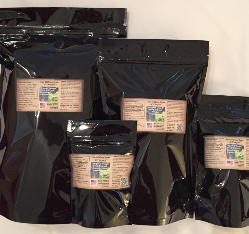 Organic Bulk Grape Seed Extract in Mylar Bags