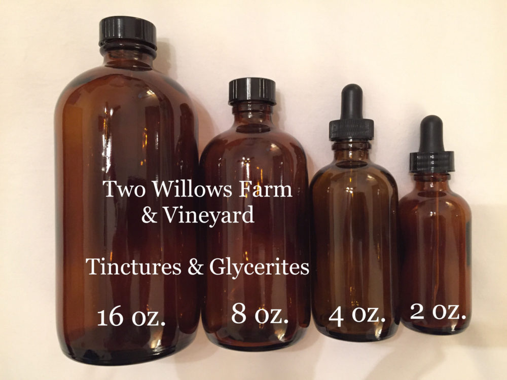 Organic Tincture & Glycerite Bottles Sizes